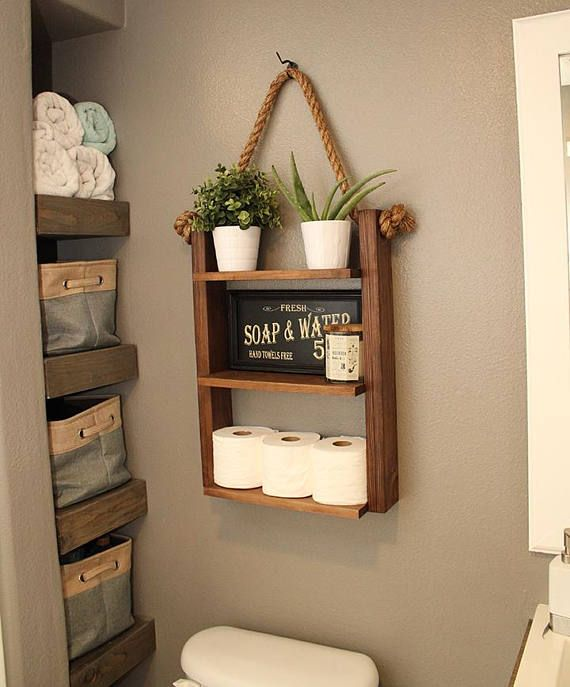 Bathroom Farmhouse Ladder Shelf Brown Walnut Large Modern Wood Rustic Medicine Cabinet Apartment Decor Farmhouse Shelves Decor Rope Decor Cabin Furniture