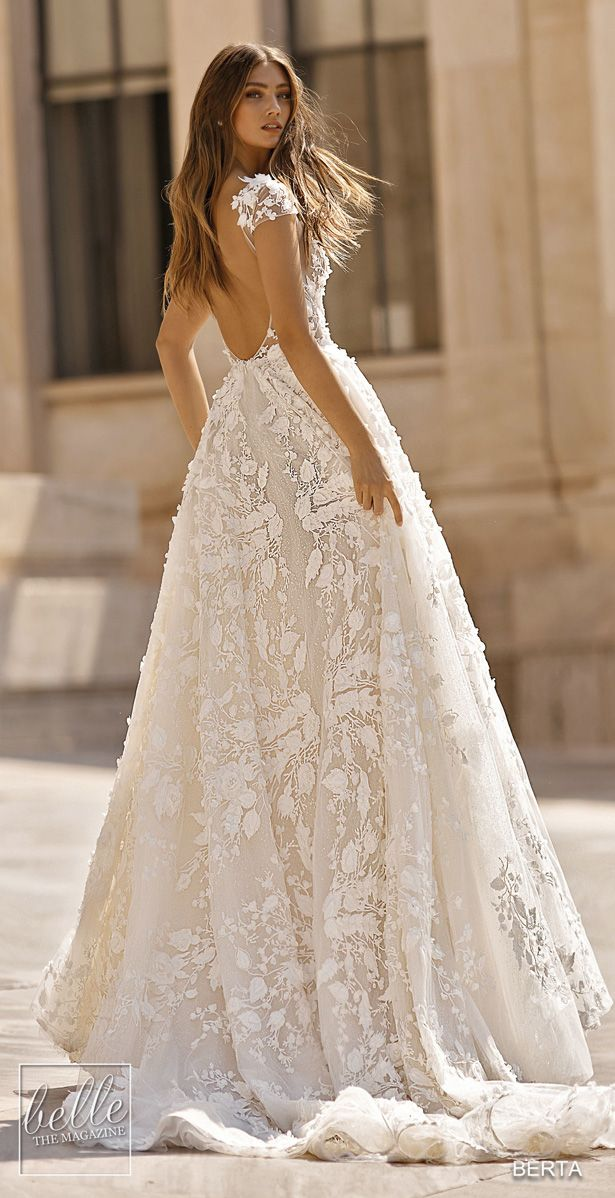 BERTA Wedding Dresses 2019 – Athens Bridal Collection. Cap sleeve backless ball …