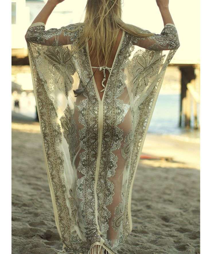 Look at this #zulilyfind! Giovani Beige Paisley Silk-Blend Caftan Maxi Dress by Giovani #zulilyfinds