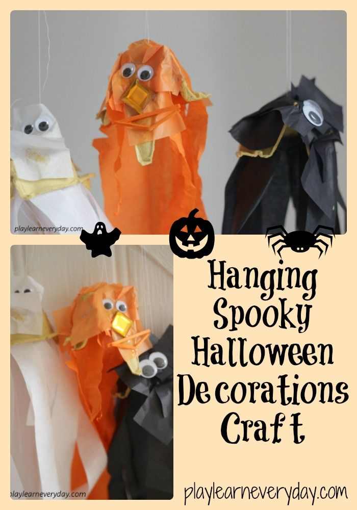 A fun and easy way to make some spooky hanging decorations for Halloween using egg cartons to make a pumpkin, a ghost and a spider. #halloween #halloweencraftsforkids #halloweencrafts #halloweenactivities