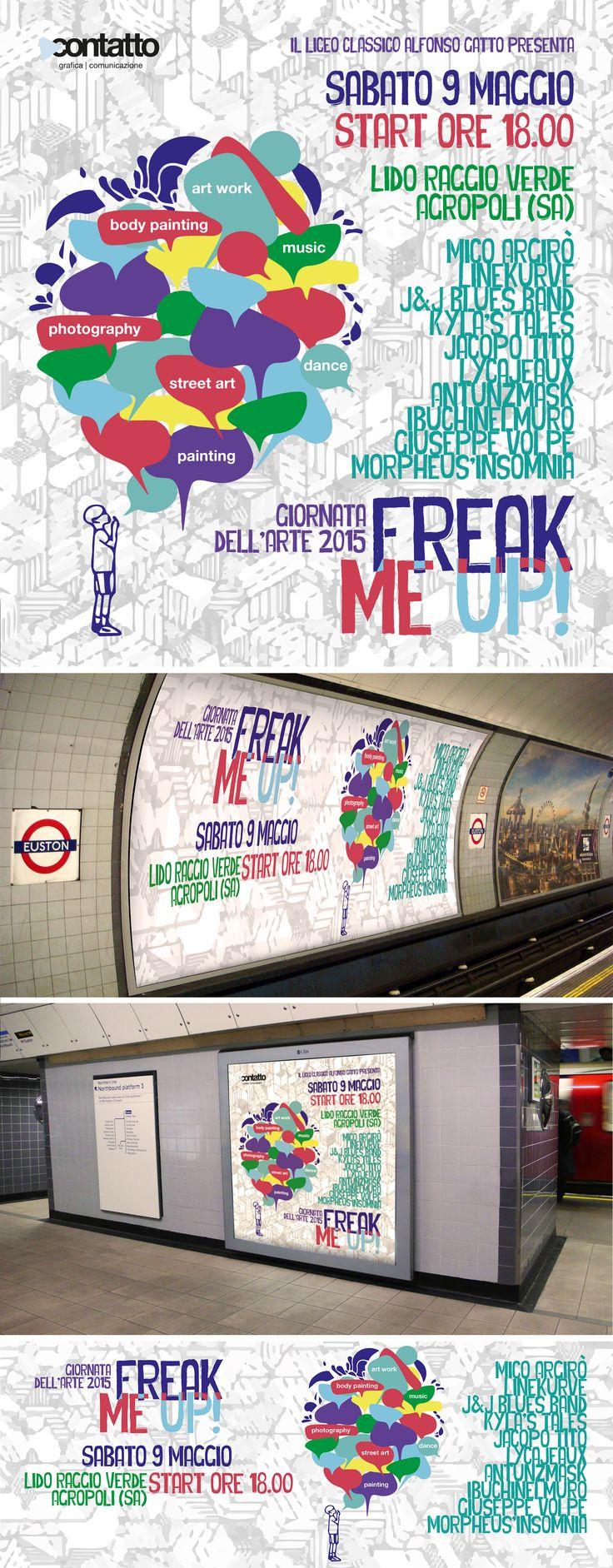 Locandina e grafica per il web dell'evento Freak Me Up! Giornata dell'arte 2015