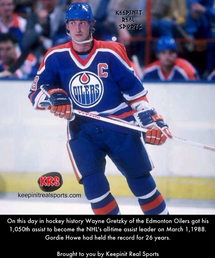 This Day In Hockey History:  On this day in hockey history Wayne Gretzky of the Edmonton Oilers got his 1,050th assist to become the NHL's all-time assist leader on March 1,1988. Gordie Howe had held the record for 26 years.  Brought to you by Keepinit Real Sports