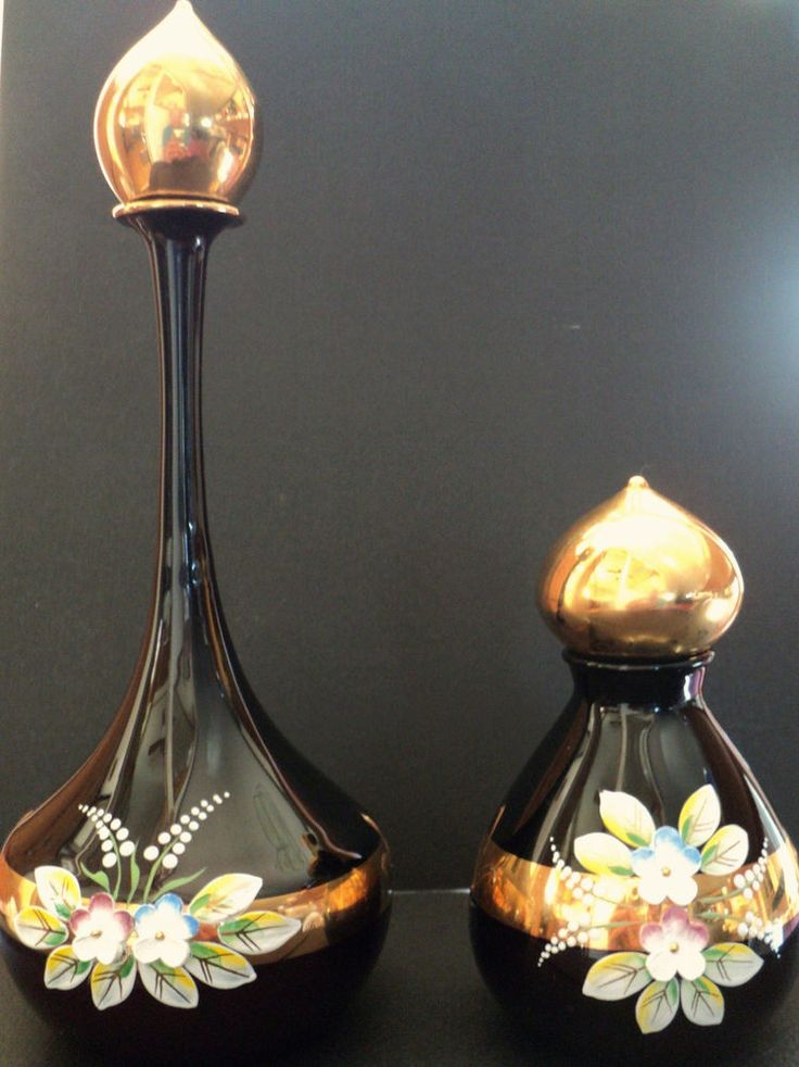 Vintage Signed Czech Perfume bottles lot 24k gold stunning flowers art glass | Antiques, Decorative Arts, Glass | eBay!