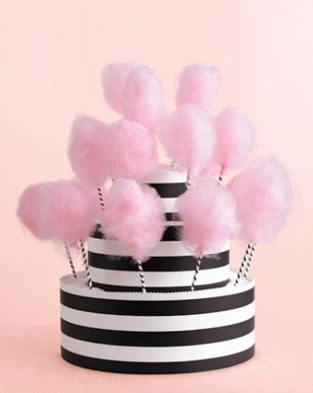 Gâteau de mariage couture chicissime - barbe à papa & pièce montée rayée noir & blanc