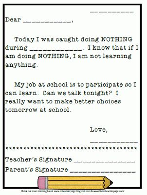 Doing Nothing letter to parents