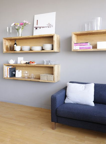 Bookcases and Floating Shelves That Break the Mold | houzz.com (Contemporary Living Room by Gepetto)