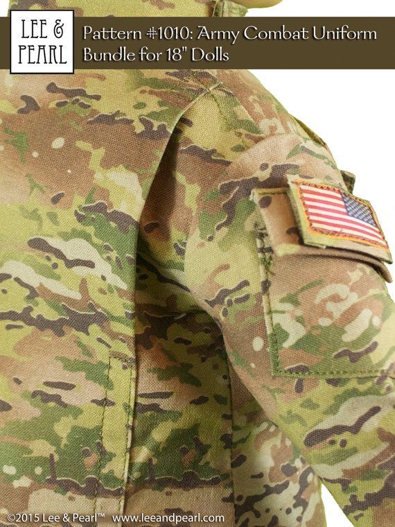 This pattern produces an 18 inch doll-scale replica of the modern Army Combat Uniform (ACU), the official battle uniform of the United States Army