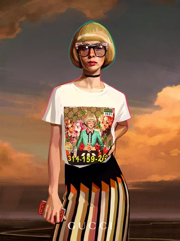 Quirky characters wear T-shirts portraying themselves, part of the Gucci Gift campaign created by Ignasi Monreal.