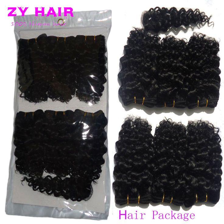 Sexy Nữ Mùa Hè Ngắn tóc xoăn với đóng cửa 7A Brazil Kinky Curly Hair Cheveux Bresilien Avec HumanHair Ngắn Xoăn