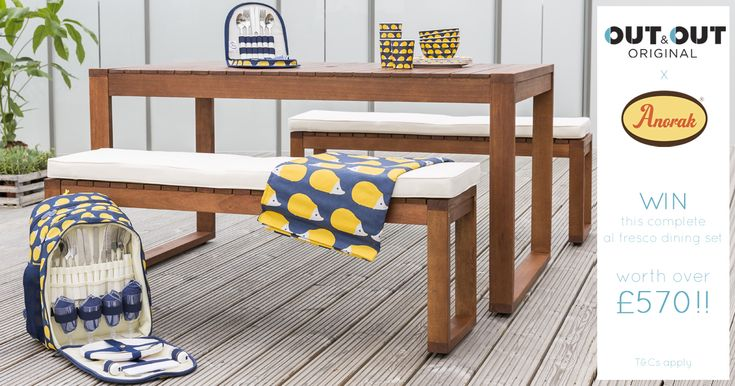 Out & Out Original AND Anorak have teamed up to offer the ultimate picnic set worth over £570 - dine in style at home or on the go with a Parsons picnic bench set + a Kissing hedgehog picnic set.