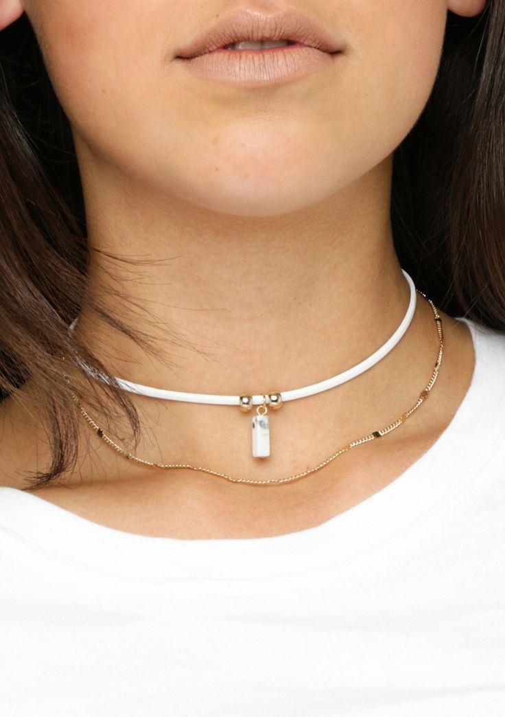 Gem Choker Necklace - White - Winter Hats and Scarves - Onceit