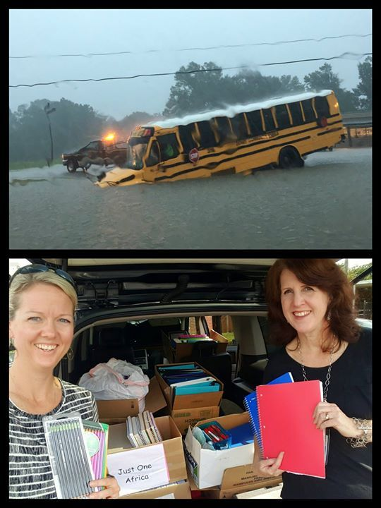 Just few weeks ago Baton Rouge Louisiana was hit really hard with historic flooding forcing thousands of people out of their homes and closing schools and businesses left and right. Some of our very own amazing teachers from South Forsyth Middle School are heading to the Ascension School District in Louisiana today with a small team.  We loaded up the Forsyth County team yesterday with a bunch of needed supplies for students and teachers who are starting over and regrouping. We receive a lot…