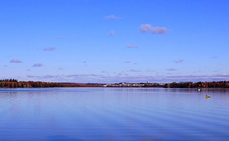 Lake Tuusulanjärvi in Uusimaa, Finland. The town of Järvenpää on the background.
