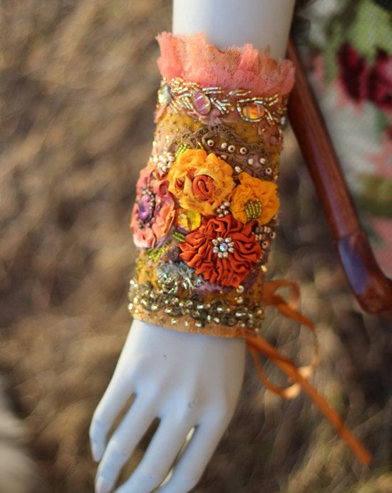 Palace of Sun-- bold gauntlet, embroidered wearable art cuff, vintage textiles, hand beading