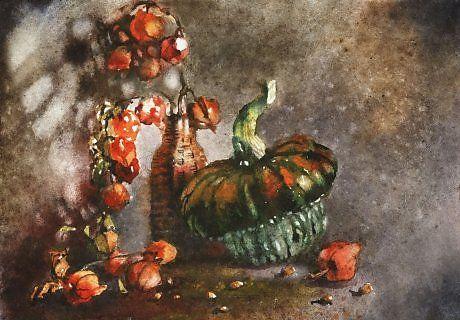 Осеннее солнце - Изобразительное искусство - Акварель, гуашь