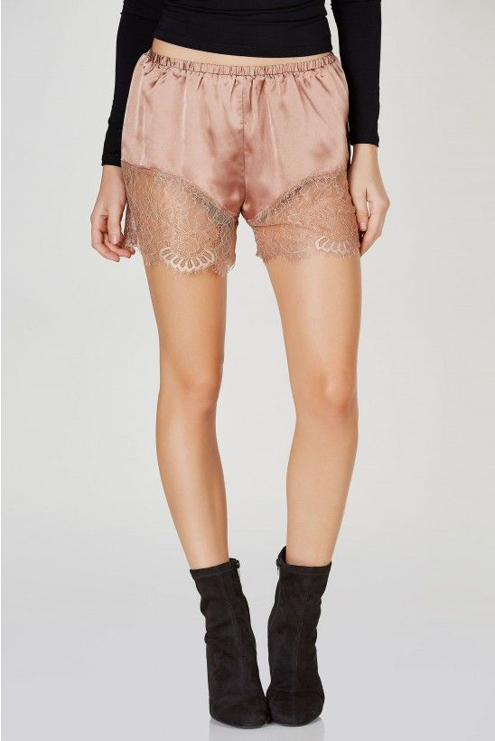 Dreamy Lace Trim Shorts in Cognac | Necessary Clothing