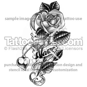 Rose Tattoos with Names | TattooFinder.com : Rose And NAME tattoo design by Edward Lee