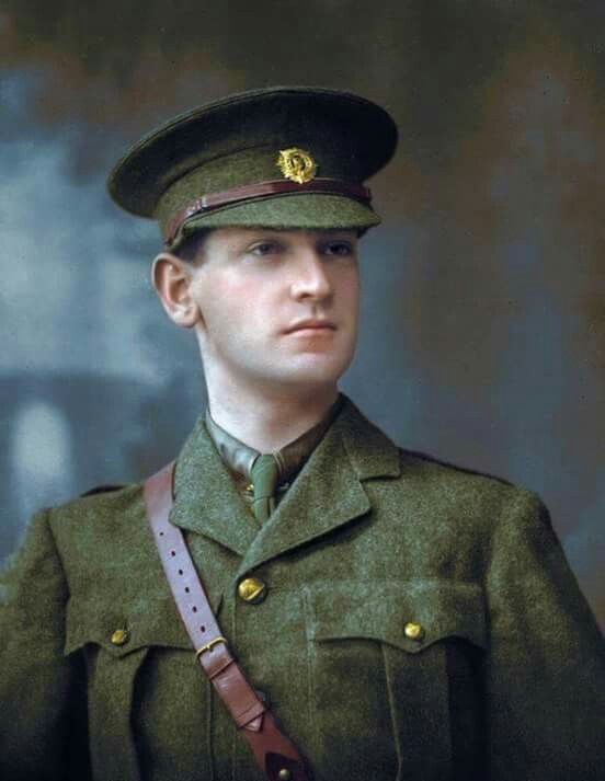 Colourized picture of Michael Collins in his Volunteer uniform.