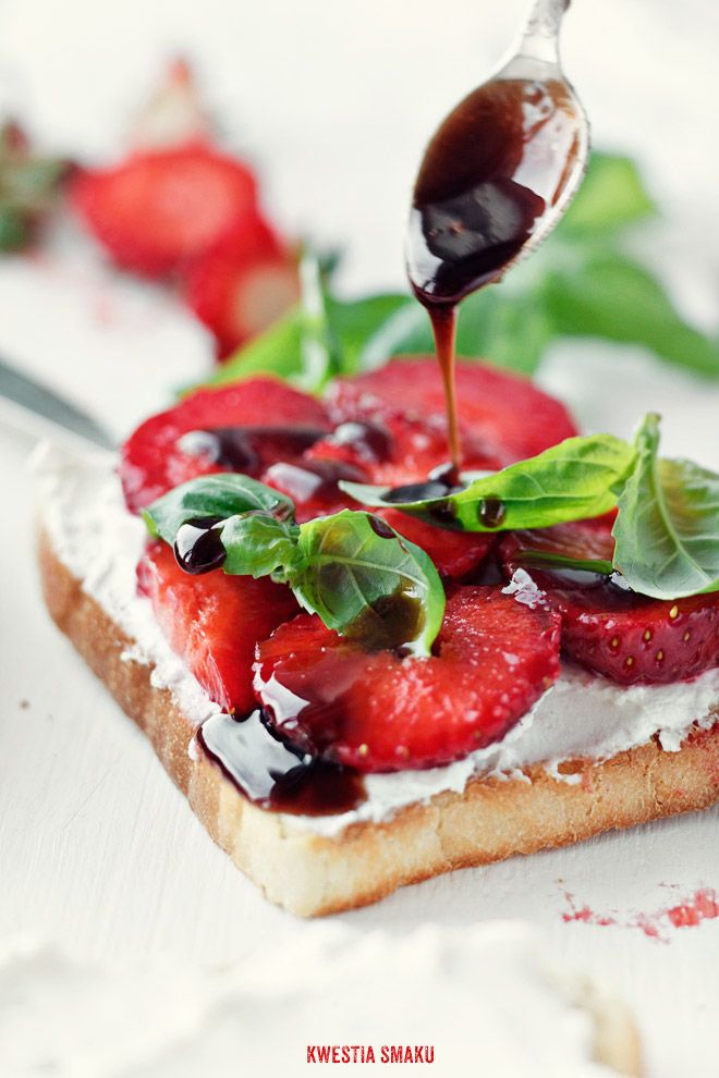 So Delicious sandwich with ricotta cheese and strawberry and also basil ;) try it...