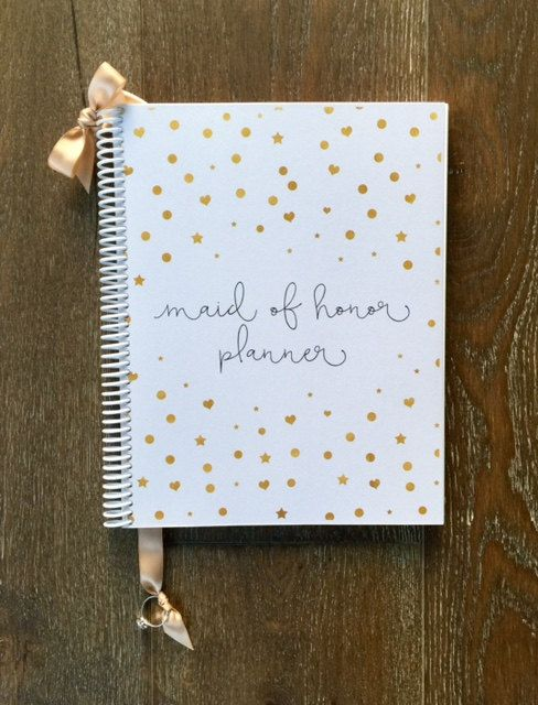 Maid of Honor Wedding Planner Book & Wedding Organizer - Gold Confetti Design - Wedding Planner Keepsake, Bridal Shower, Maid of Honor