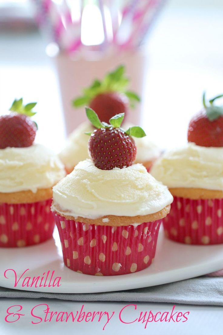 Vanilla Cupcakes with Strawberries