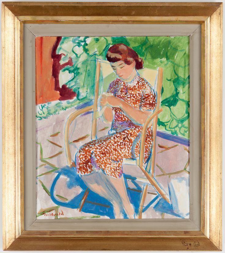 ISAAC GRÜNEWALD Olja på duk, signerad. Troligen föreställande Märta, Isaacs fru. 55 x 46 cm.
