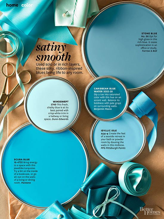 BHG's favorite shades of gorgeous blues that would look great on a wall or painted on accent furniture. Paint color names and brands from BHG
