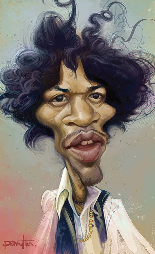 Caricatura Jimi Hendrix.