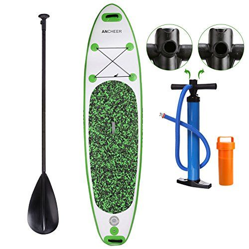 Ancheer 10' PVC Inflatable Stand Up Paddle Board with Backpack, Adjustable Paddle and Dual Action High Pressure Pump with PSI, Green ** Want to know more, click on the image.