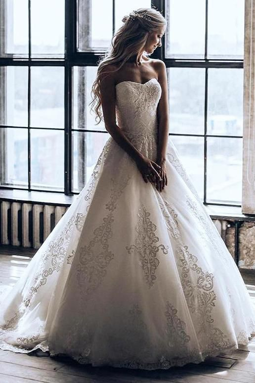 Buy Princess Strapless Ball Gown Wedding Dress With Appliques OW426