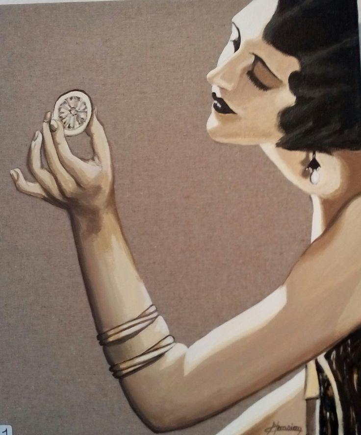 Femme des ann es 20 la rondelle de citron acrylique sur toile de lin christine monsion - Femmes annees 20 ...