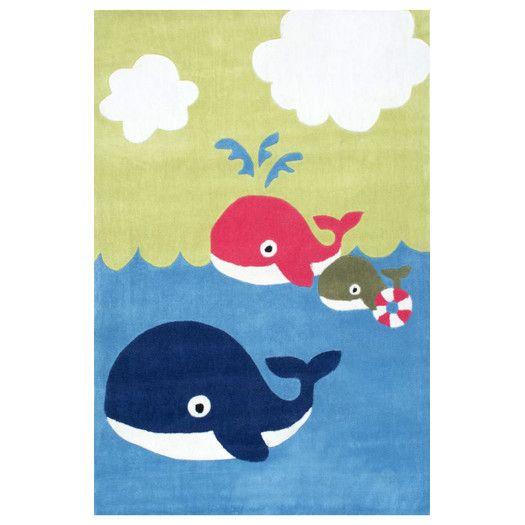 Boys Room Decor :: Kids Rugs :: Boys Rugs (Shop All Rugs) :: Nuloom Hulda Whale Friends Hand Made Blue Area Rug