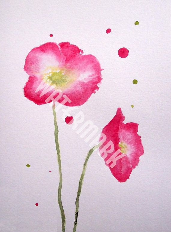 Abstract Pink Poppies , original watercolour (not print) on 240g paper A5 approx: 8x6inch/21x15cm. FREE SHIPPING $20.00 USD