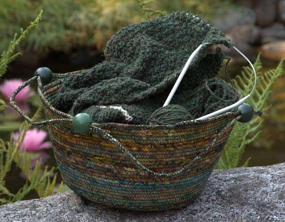 Coiled rope Knitting basket by Batik Baskets