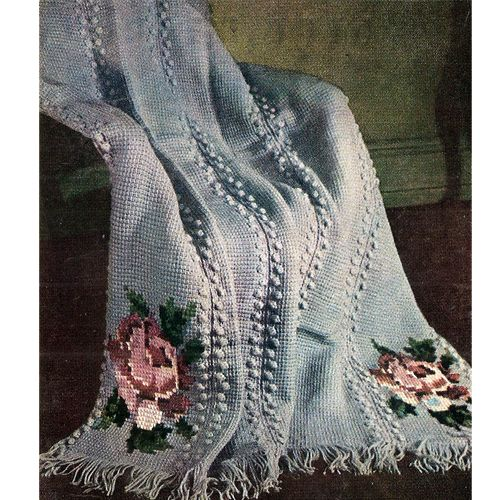 62 best crocheted afghans images on pinterest knitted afghans rose embroidered crochet afghan pattern 51 x 68 inches this is a for sale pattern dt1010fo