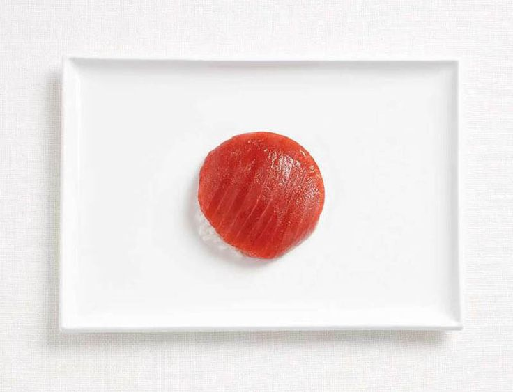 Japan.  Sushi and rice.  National flags made from each country's traditional foods