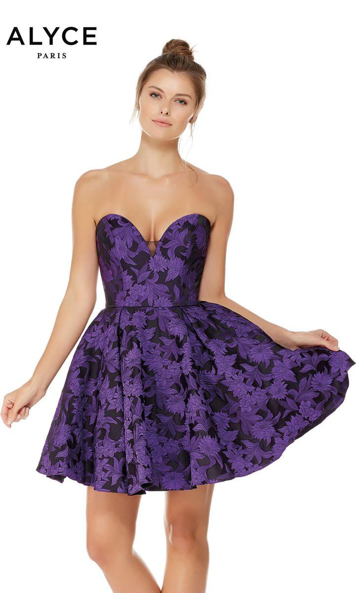 5f4d3e137b2 Alyce Paris 3789 is a strapless floral Jacquard short party dress with a  sweetheart neckline.