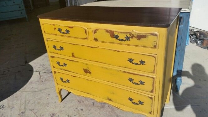 Yellow distressed dresser♡ | Ratique Furniture | Pinterest ...