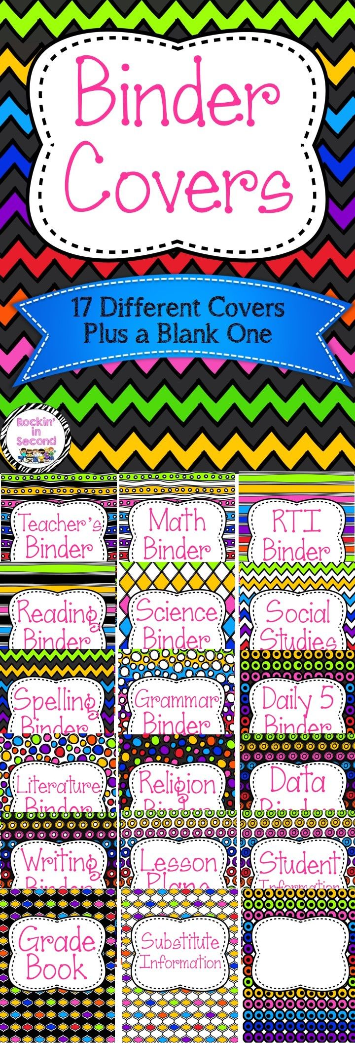 This Rainbow Binder set includes everything to help organize your binders.   This set includes 17 binder covers:  * Teacher's Binder * Math  * RTI * Reading  * Science * Social Studies * Grammar * Spelling * Daily 5 * Religion * Data * Literature * Writing * Lesson Plans * Grade Book * Student Information * Substitute Information * A blank one to make and add anything you want! =)  Follow me on TPT for more exciting activities and FREEBIES!! All new products are 50% off for the first 24…