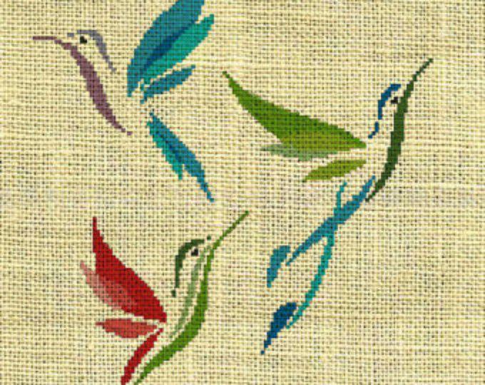 Colibrí/aves/animales contados puntada patrón de la Cruz