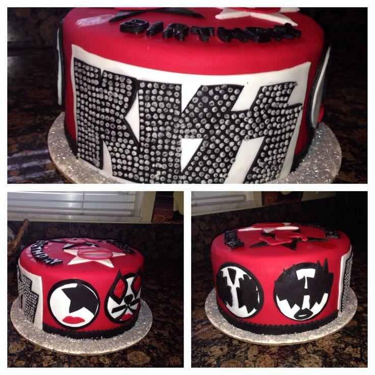 Fondant KISS BAND cake. This is a cake my BBF and I made for her beautiful mother. First time we ever covered a cake in fondant.  We had a good time making it. Happy Birthday Belinda! Love you!