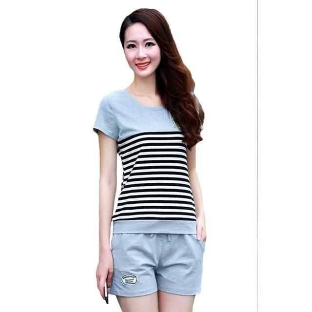 e2c4fcd8b414 Women s Tracksuits Two Piece Set Summer Short Sleeves Striped T Shirt Tops+ Shortsuotelab