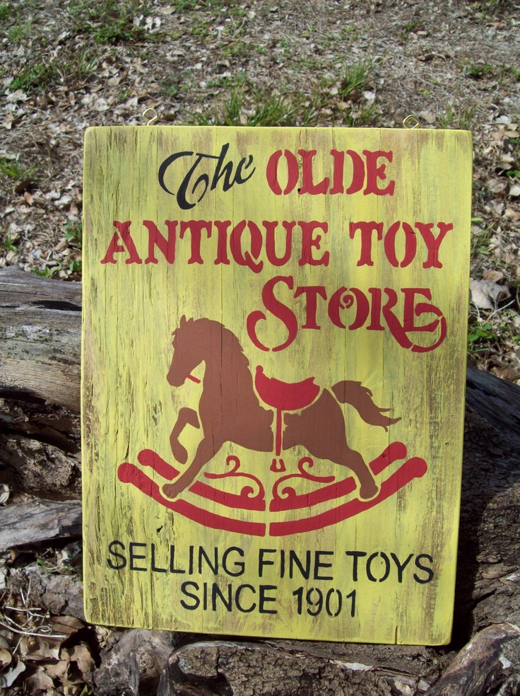 Hand Painted Wood Olde Antique Toy Store Sign Primitive