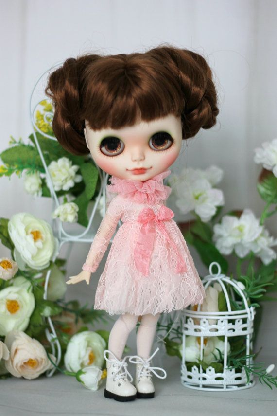 Lace dress with stockings for  Blythe / Azone pure neemo M/S and same doll 1/6 size