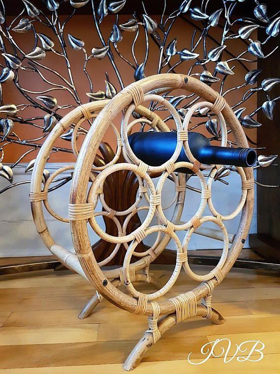 Vintage cane wine rack cane bamboo wine rack boho cane wine
