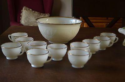 Sale-12 Pc. Anchor Hocking Daisy 22K Gold Trim~Opaque Milk Glass Punch Bowl Set