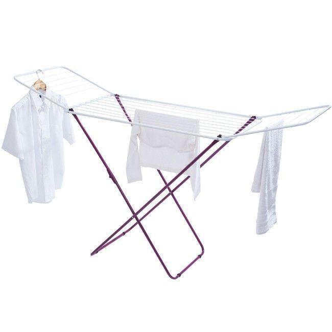 Séchoir à linge métallique violet, dim. 180 x 55 x 105 cm.<br>