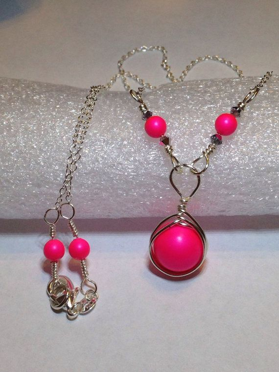 Neon Pink Pearl Necklace Wire Wrapped Jewelry Handmade Sterling Silver Hot Pink Swarovski Pearl Necklace Neon Pink Necklace on Etsy, $25.00