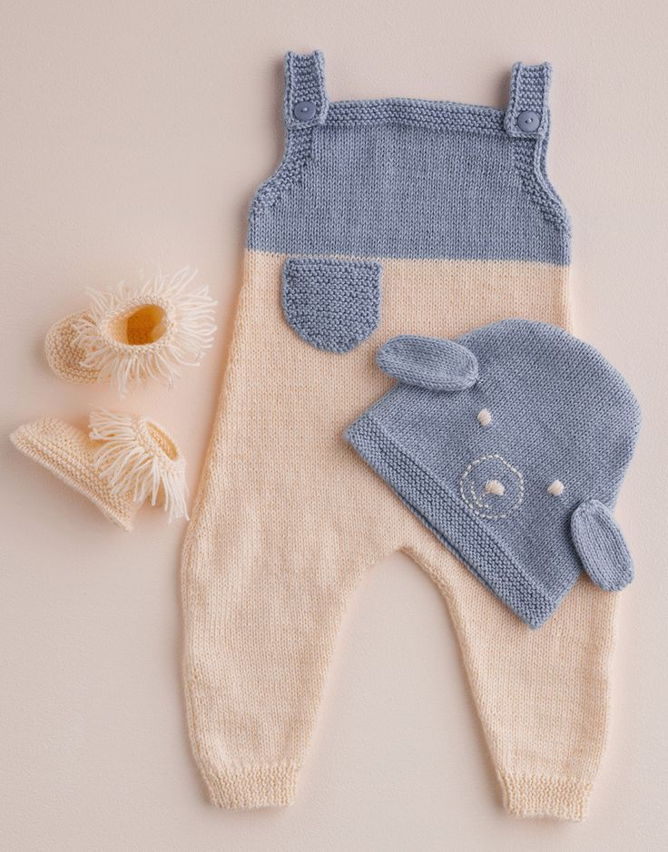 Knitted overalls and bootees by Patons Australia