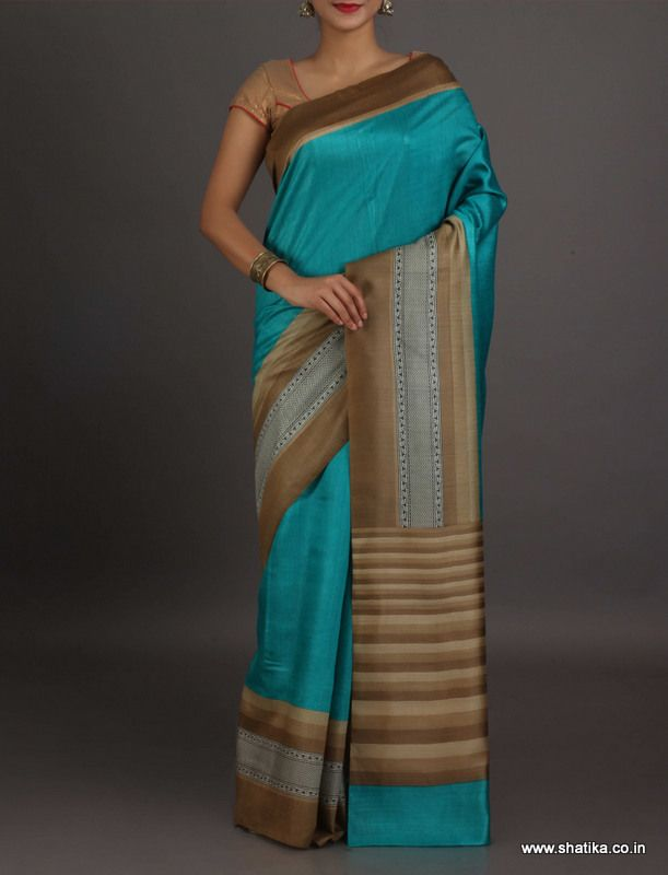 Hasini Plain Blue With Distinct Border #GeorgetteSilkSaree